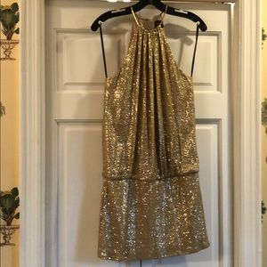 Gold sequin halter neck party dress